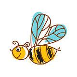 Honeybee hand drawn icon isolated vector.
