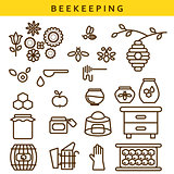 Beekeeping vector line icon set.