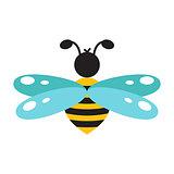Honeybee cartoon icon isolated vector.