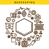 Beekeeping vector line icon label emblem.