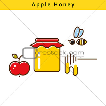 Apple honey vector colored line icons.