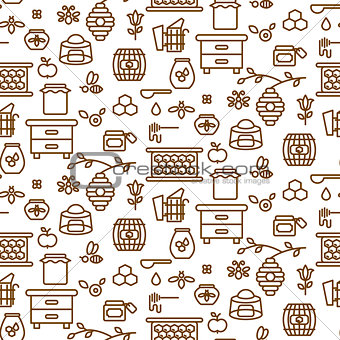 Apiary outline icon seamless vector pattern.