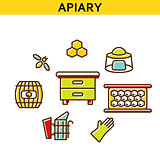 Apiary line icons vector.