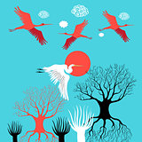 Vector illustration with herons and ibises