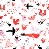 Seamless bright pattern with lovers birds
