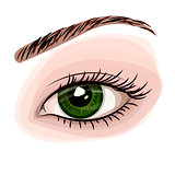 Woman green beautiful eye