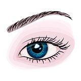 Woman beautiful blue eye