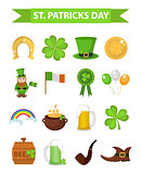 St. Patricks Day icon set design element. Traditional irish symbols in modern flat style. Isolated on white background. Vector illustration, clip art.