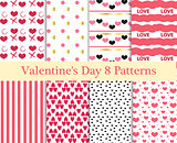 Valentines Day seamless pattern set. Hearts endless background, texture. Collection of paper. the vector illustration.