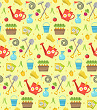 Gardening seamless pattern with garden tools. Spring endless backdrop. Horticulture texture, wallpaper. Cute summer background. Vector illustration.