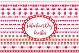 Valentines Day borders set. Cute heart, flowers ornament. Isolated on white background. Vector illustration.