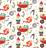 Gardening seamless pattern with gnome, flowers and tools. Spring endless background. Horticulture texture, wallpaper. Cute backdrop. Vector illustration.