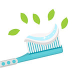 Toothbrush with mint paste. Isolated on white background. Vector illustration.