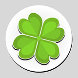 Clover sticker icon flat style. Vector illustration.