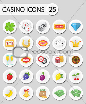 Casino icons stickers, flat style. Gambling set isolated on a white background. Poker, card games, one-armed bandit, roulette collection. Vector illustration.