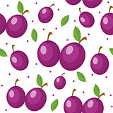 Plums seamless pattern. Plum endless background, texture. Fruits backdrop. Vector illustration.