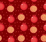 Pomegranate seamless pattern. Garnet fruit endless background, texture. Fruits. Vector illustration