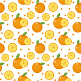 Orange seamless pattern. Mandarin citrus endless background, texture. Fruits . Vector illustration