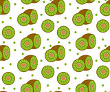 Kiwi seamless pattern. Kiwifruit endless background, texture. Fruits backdrop. Vector illustration.