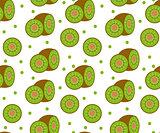 Kiwi seamless pattern. Kiwifruit endless background, texture. Fruits backdrop. Vector illustration.