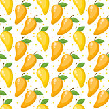 Mango seamless pattern, endless background, texture. Fruits . Vector illustration