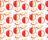 Apples seamless pattern. Red Apple endless background, texture. Fruits . Vector illustration.
