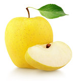 Yellow apple with slice and leaf