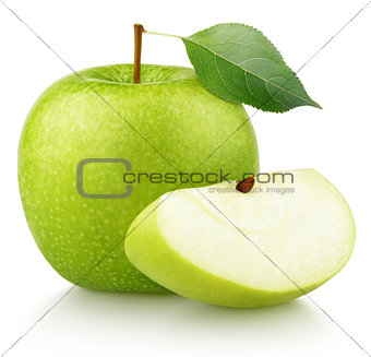 green apple with green leaf and apple slice isolated on white
