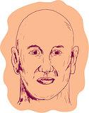 Bald Caucasian Male Head Drawing
