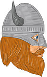 Viking Warrior Head Right Side View Drawing