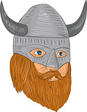 Viking Warrior Head Three Quarter View Drawing