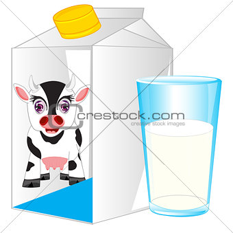 Box and glass with milk