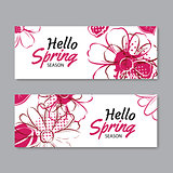 Hello spring season banner template background with colorful flo