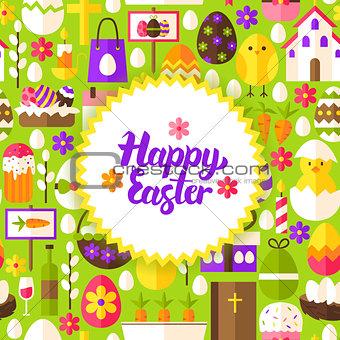 Flat Happy Easter Postcard