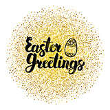 Easter Greetings Lettering over Gold