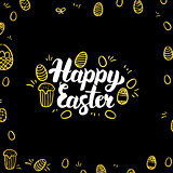 Happy Easter Gold Black Postcard