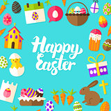 Happy Easter Lettering Postcard