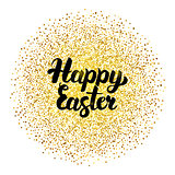 Happy Easter Lettering over Gold