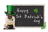 cute pug puppy dog with leprechaun hat for st. patrick's day smoking pipe, sitting next to blank blackboard sign with horseshoe and shamrock, on white background
