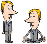meditating businessman cartoon