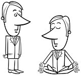 meditating businessman drawing