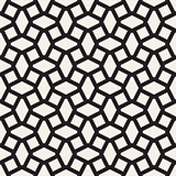 Geometric Ornament With Striped Rhombuses. Vector Seamless Monochrome Pattern