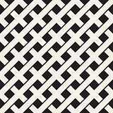 Weave Seamless Pattern. Stylish Repeating Texture. Black and White Geometric Vector Illustration.