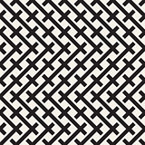Weave Seamless Pattern. Braiding Background of Intersecting Stripes Lattice. Black and White Geometric Vector Illustration.