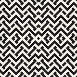 Interlacing Lines Maze Lattice. Ethnic Monochrome Texture. Vector Seamless Black and White Pattern