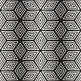 Trendy Monochrome Line Lattice. Vector Seamless Black and White Pattern.