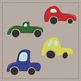 Childrens colorful cartoon cars