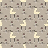 Deer flowers seamless pattern.