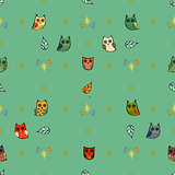 Owl vector seamless pattern
