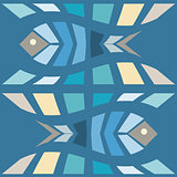 Fish mosaic seamless pattern